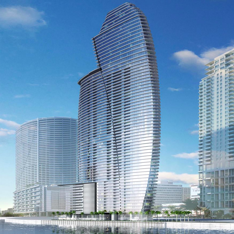 3D Rendering view of Aston Martin Residences from Miami River connection with Biscayne Bay.