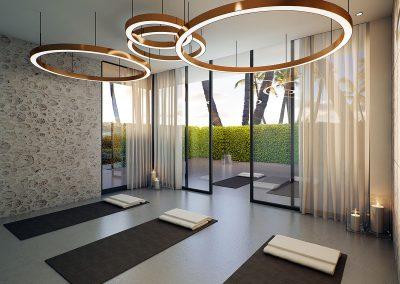 3D rendering sample of the yoga room design at Aurora condo.