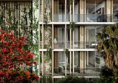 3D rendering sample of exterior of The Fairchild Coconut Grove condo.