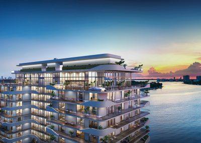 3D rendering sample of Monaco Yacht Club & Residences at dusk.