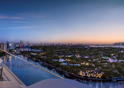 3D rendering sample of a terrace at Monaco Yacht Club & Residences at dusk.