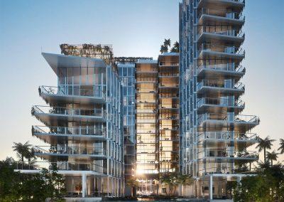 3D rendering of the exterior of Monad Terrace condo.