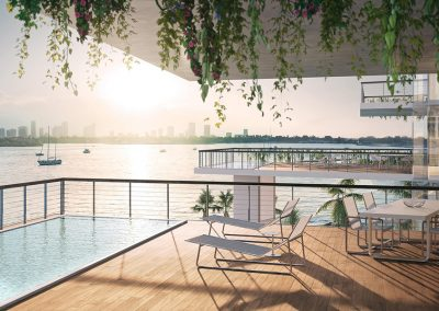 3D rendering sample of a large terrace and private pool at Monad Terrace condo.