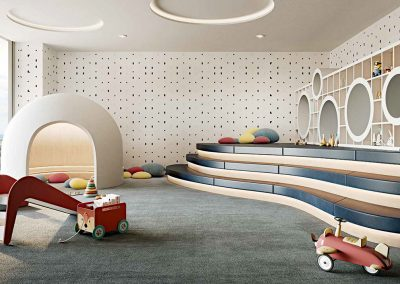 3D rendering sample of the children's playroom at Mr. C Residences condo.