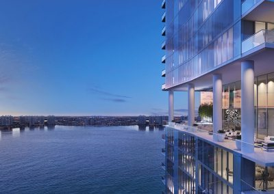 3D rendering sample of the exterior at Turnberry Ocean Club condo at night.